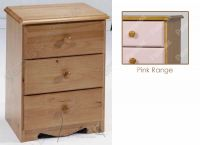 Verona Bedside Chest 3 Drawer | Pink