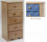 Verona Narrow Chest of Drawers 5 Drawer | Blue