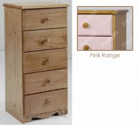 Verona Narrow Chest of Drawers 5 Drawer | Pink