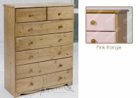 Verona Chest of Drawers 5 + 2 Drawer | Pink