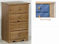 Verona Bedside Chest 4 Drawer | Blue