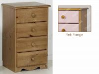 Verona Bedside Chest 4 Drawer | Pink