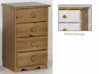 Verona Bedside Chest 4 Drawer | White