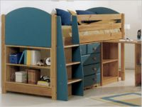 Verona Midsleeper Set with Pullout Desk | Blue Finish