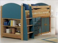Verona Midsleeper Set with Cupboard | Blue Finish