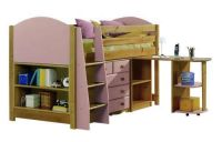 Verona Midsleeper Set with Pullout Desk | Pink Finish