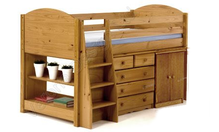 Verona Midsleeper Set with Cupboard | Antique Finish