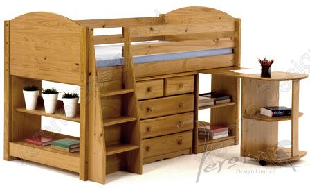Verona Midsleeper Set with Pullout Desk | Antique Finish